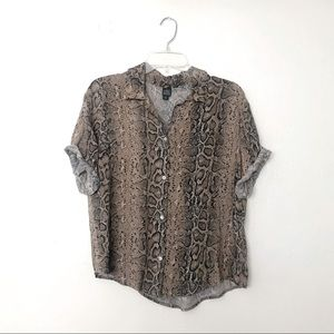 Wild Fable Animal Print Short Sleeve Button Up